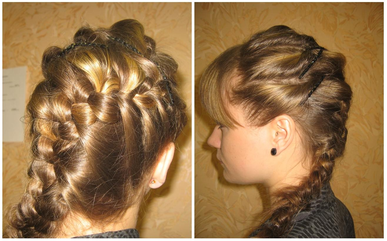 Причёска букли с косами